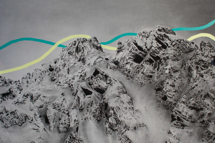 mountains painted in charcoal